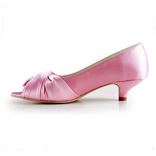 Party TMZ360 4cm Women's Minitoo Kitten Formal Satin Wedding Heel Heel Sandals Bridal Evening Pink BqUzUC