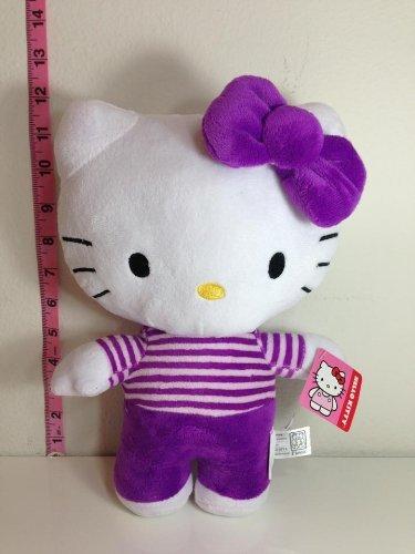 - Hello Kitty Plush Doll Toy - Purple Striped Shirt