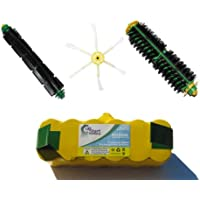 Replacement iRobot Roomba 500 Series Battery, Bristle Brush and Flexible Beater Brush, 6-Arm Side Brush - Kit Includes 1 Battery, 1 Bristle Brush and 1 Flexible Beater Brush, 1 6-Arm Side Brush