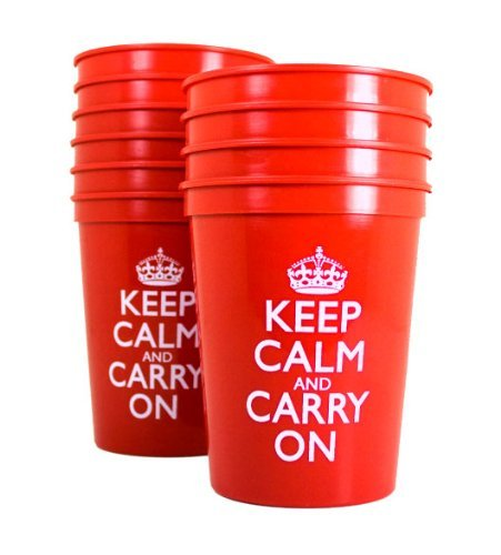 Red Plastic Cups Disposable Cups Party Cups Red Cups Plastic Keep Calm and Carry On Tumblers Pk 10 for $<!--$19.99-->
