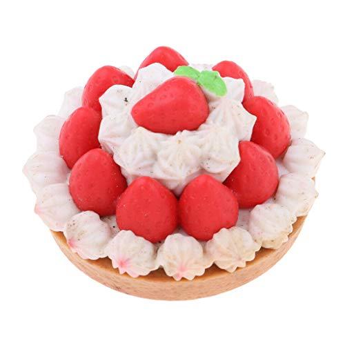 NATFUR Dining Room Food Resin Dessert Cake Model 1/6Scale for Mellchan Dolls Red