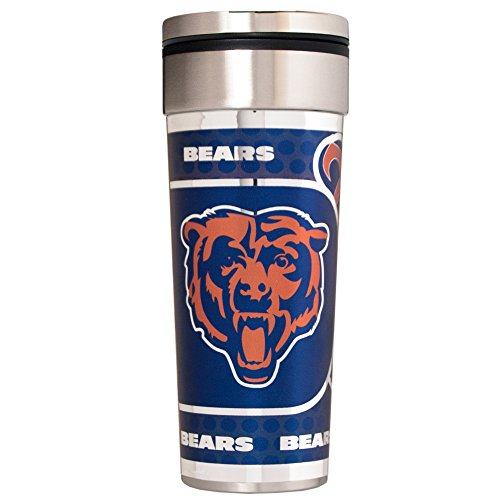Chicago Bears Travel Tumbler - NFL Chicago Bears Travel Tumbler with Metallic Graphics, 22-Ounce, Silver