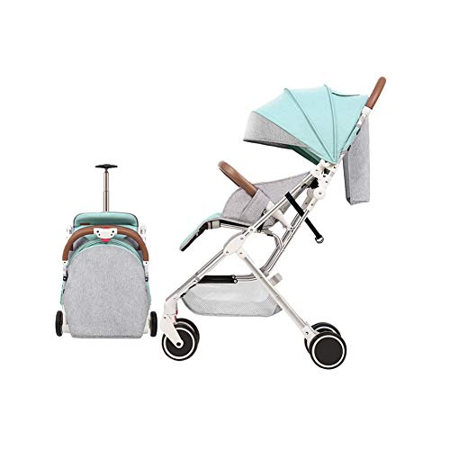 Frjjthchy Travel Baby Stroller Four Seasons Universal with Sun Protection Umbrella and Storage Bin High Landscape Pushchair for 0-4 Years (Green)