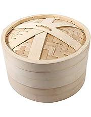 Ångande korg, 4 storlekar 2 nivåer bambu ångkokare korg kinesisk naturlig ris matlagning mat spis med lock nytt (26 cm)