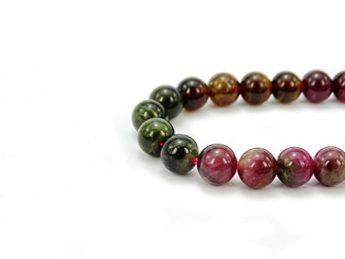 jennysun2010 Natural Multi-Colored Tourmaline Gemstone 4mm Smooth Round Loose 90pcs Beads 1 Strand for Bracelet Necklace Earrings Jewelry Making Crafts Design Healing