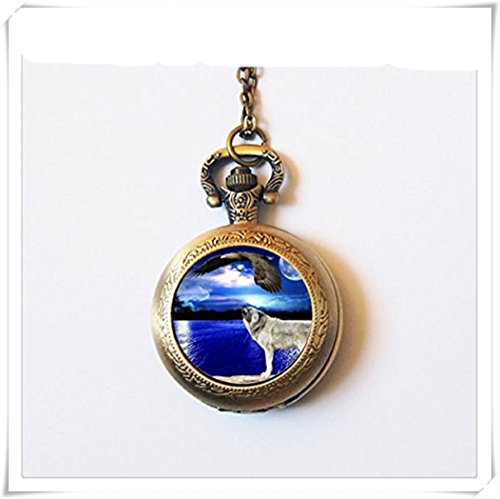 howling Wolf pocket watch Moon watch Animal chain watch wolf howling at eagle pocket watch Wolf Jewelry charm gift -