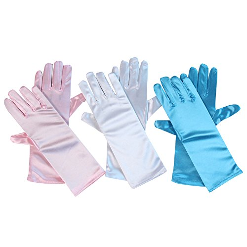 Child Princess Gloves (Girls Princess Gloves 3 Pack, Pink, Blue and White)