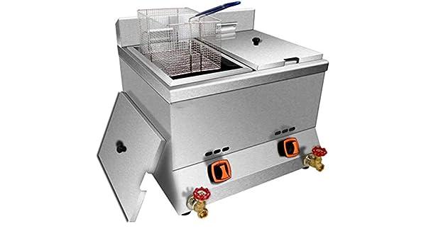 LLY 24 litros de freidoras comerciales de gases de freír las patatas fritas de la olla alas de pollo frito cilindro de la máquina (2 latas),Silver: Amazon.es: Hogar