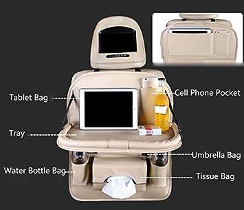caja de pa/ñuelos y soporte para botella de agua organizador de asiento trasero de piel sint/ética con mesa de comedor plegable Shinequ Organizador de asiento trasero de coche negro