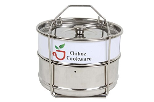 Chiboz Cookware 8 Qt XL Stackable Steamer Insert Pans with S