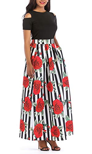 VLUNT Women's African Floral Print A Line Long Skirt Pockets Two Pieces Maxi Dress Large Red-short Sleeve,Red-short Sleeve,Large