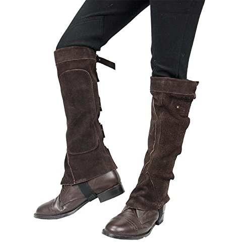 (Derby Suede Leather Half Chaps with Velcro Closure for Horse Riding or Motorcycle Use)