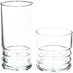 Anchor Hocking Haley Small and Large Drinking Glasses, 16-Piece Glassware Set
