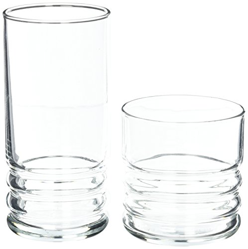 Anchor Hocking Haley Small and Large Drinking Glasses, 16-Piece Glassware - Piece Tumbler 16