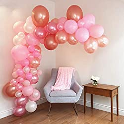 Balloon Arch & Garland Kit - 80 Pink, Blush, Rose Gold & White Small to X-large balloons - Glue Dots & Decorating Strip - Wedding, Baby Shower, Graduation, Anniversary & Party Decorations - by Junibel