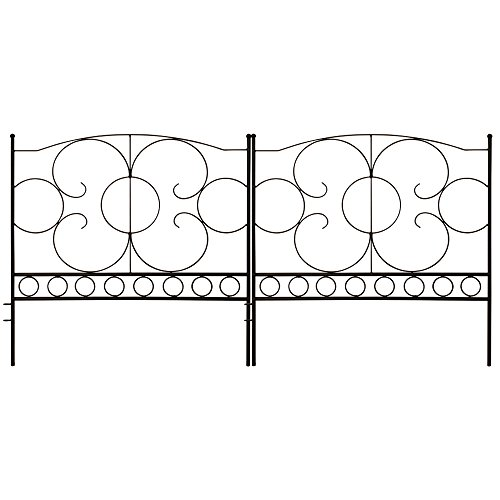 Gray Bunny GB-6885 Landscaping Garden Fence, Set of 5 Black Panels, 24 x 24 in Per Panel, Rust Proof Cast Iron Metal Movable Wire Border Picket Edging Folding Decor Fences for Flower Bed/Pet Barrier -