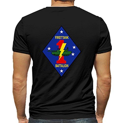 (1st Tank Battalion USMC Marine Corp WWII Black or White Short Sleeve Shirt (Large,)