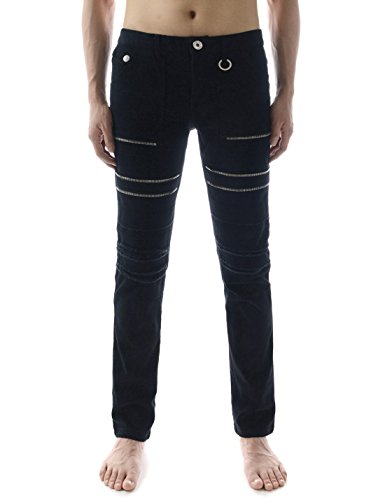 (TLP24) Mens Slim fit Skinny Stretchy Zipper Deoration Destroyed Cotton Jeans BLACK X-Large(US 34)
