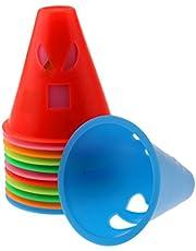 Milageto Conjunto de 12 Cones Coloridos de Slalom Pylons Pylons Cones Sport Roller Skating