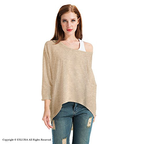 EXLURA Blusa Suelta de Talla Grande Camiseta con Mangas Largas de Murciélago Beige