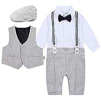 A&J DESIGN Infant Boys Bowtie Gentleman Romper Overall Set Berets Hat (6-9 Months, Light Gray)