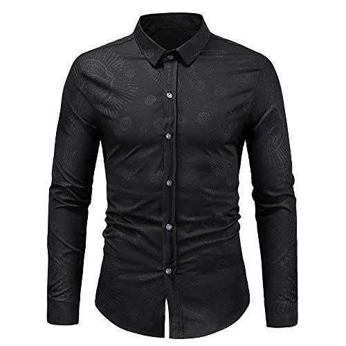 Men's Cotton Casual Long Sleeve Dress Shirt Plaid Collar Regular Fit Button Down Shirt