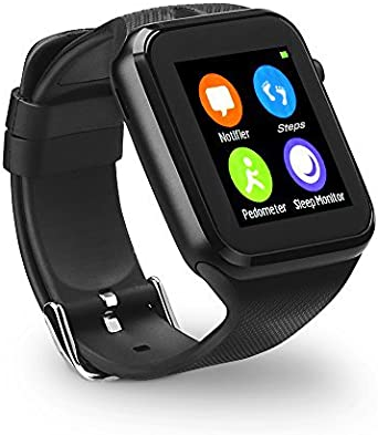YUNTAB Touch Screen Smartwatch, with SIM Slot, Phone Call SMS MMS Supported, Compatible for iOS & Android, Built in Camera/Calculation/Pedometer/Sleep ...