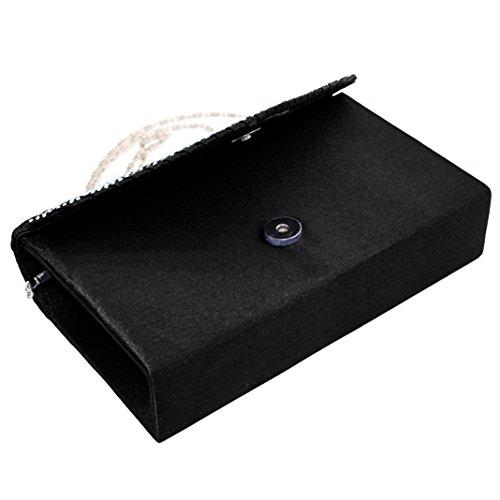 d'Anniversaire Femme avec Chaîne Strass Soirée à Sac Party Mariage Noir Argenté avec Mini Portefeuille Sasairy Main pour Pochette 21x13x5cm Cocktail Bal Sac Mini Cadeau Elégant de gwAg1Rdq