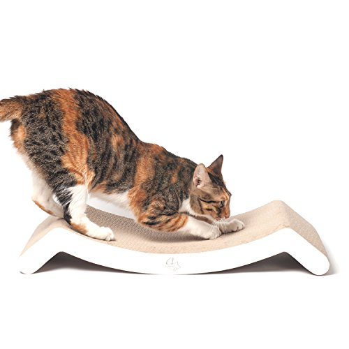 4CLAWS Scratching Lounge & Bed (White) - BASICS Collection Cat