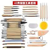 Eaglers Clay Sculpting Tools - Pottery Carving Tool - Set Pottery Ceramics Wooden Handle - Clay Tools 42 PCS