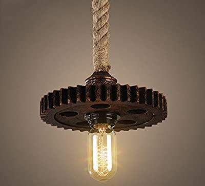 Industrial Rope Light Pendant Lighting Steampunk Iron Gear Hanging Lamp Cog Sprocket Vintage Rustic Light Fixture