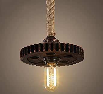 Industrial Rope Light Pendant Lighting Steampunk Iron Gear Hanging Lamp Cog Sprocket Vintage