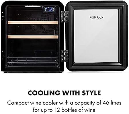 Klarstein Vinetage Uno - Nevera para vinos, Temperaturas de 4 a 22 °C, Refrigeración por compresión, Iluminación LED, 2 estantes de madera, Panel de control, Capacidad 46 L, Hasta 12 botellas, Negro