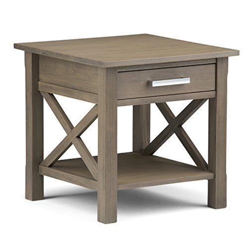 Simpli Home Kitchener Square End Table in Farmhouse Gray