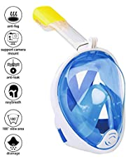 Omew Full Face Snorkel Mask, 180° Panoramic View Diving Snorkeling Mask Anti-fog Anti-leak Easy Breathing Swimming Mask with Action Camera Mount for Adults & Teenagers