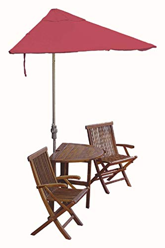 Blue Star Group Terrace Mates Bistro Deluxe Table Set w/ 7.5'-Wide OFF-THE-WALL BRELLA - Red Olefin Canopy (Wall Red Olefin Umbrella)
