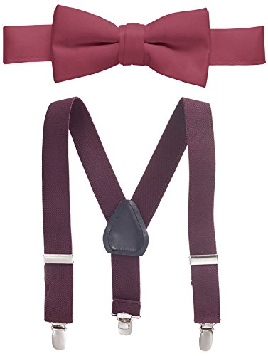 (Hold'Em Suspender and Bow Tie Set for Kids, Boys, and Baby -Burgundy 30