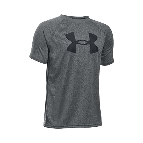 Under Armour Boys Tech Big Logo Short Sleeve T Shirt  Carbon Heather Black  Youth Large