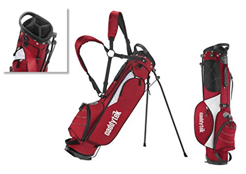 CaddyTek Deluxe Sunday Carry Bag with Stand -Red Color ()