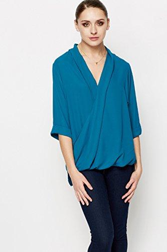 De chifón de blusa de invernadero para mujer de chifón de azul turquesa