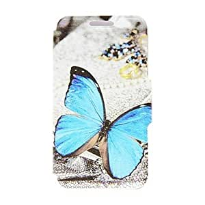 HJZ Kinston Blue Butterfly Pattern PU Leather Full Body Case with Stand for Samsung Galaxy S5 I9600