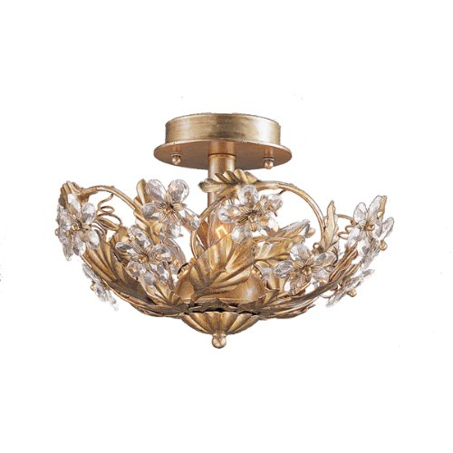 Price comparison product image 5305-GL Abbie 3LT Semi-Flush,  Gold Leaf Finish with Clear Hand Cut Crystal Accents