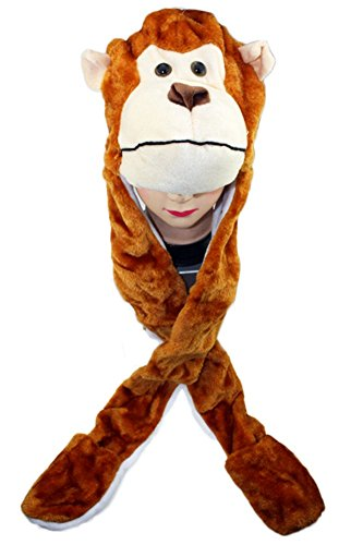 Sepia Faux Fur Animal Hat Fluffy Plush Cap Mask Scarf Hood 3D Earmuff Gloves (Monkey) ()