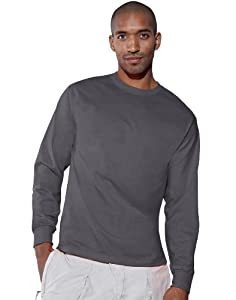 Hanes TAGLESS 6.1 Long Sleeve T-Shirt, XL-Smoke Gray