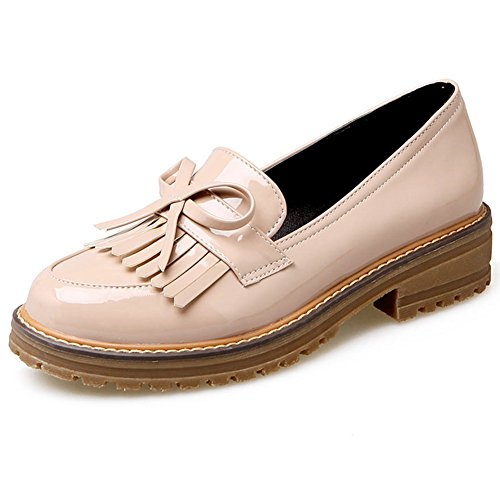 PU Loafers Leather Fringe Tassel Flat Low School Work Patent Penny Shoes DecoStain Womens Heel EFwXx6qfKy