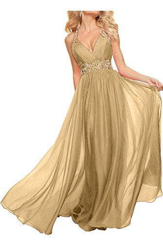 Neckholder La Abendkleider Rosa Partykleider Chiffon Rock Braut A mia Lang Champagner Linie Ballkleider Promkleider wFnFTI4q