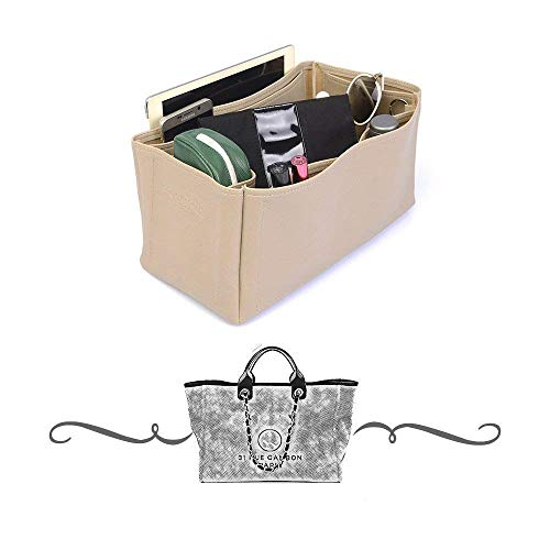 Chanel Deauville Tote Deluxe Leather Handbag Organizer in Dark Beige Color, Leather bag insert for Chanel Deauville Tote, Express Shipping