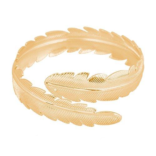 CHOA Fashion Gold Tone Swirl Leaf Upper Arm Bracelet Armlet Cuff Bangle Armband Adjustable (Gold Tone Swirl)