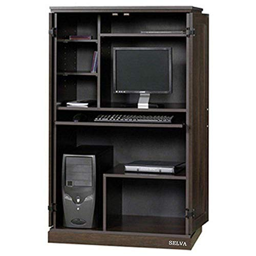 - Selva Computer Armoire Desk Hutch Workstation Den Cabinet CPU Tower Printer Storage Pull Out Keyboard w/Panel Door | 3 Adjustable Shelves Heavy Duty Space Saving Furniture | for PC Laptop Office Home