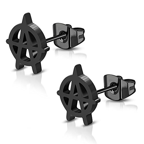 - 10x8mm | Black Stainless Steel Anarchy Symbol Stud Earrings (pair) - JES437